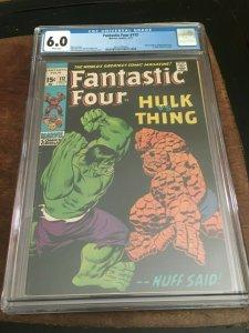 FANTASTIC FOUR #112 - CGC 6.0 - CLASSIC HULK VS THING BATTLE - BRONZE AGE KEY