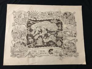 Mystery Map of Assinine Atoll Signed Poster Robt Williams
