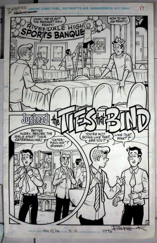 REX LINDSEY ORIGINAL ART! Archie's Pal Jughead #183,Ties That Bind 5 pager!