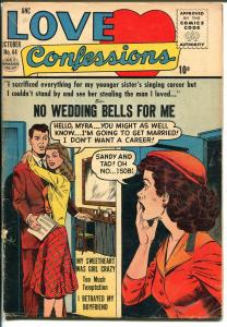Love Confessions #44 1955-Quality-Romance triangle-Spicy Good Girl Art-VG-