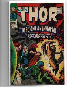 THOR #136 - GD/VG - RE-INTRO LADY SIF - LOW GRADE SILVER AGE KEY - KIRBY ART