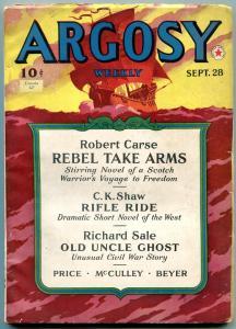 Argosy Pulp September 28 1940- Senor Devil- Rebel Take Arms VG/F