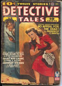 Detective Tales 10/1942-Popular-crime-horror-weird menace-hardboiled pulp-VG
