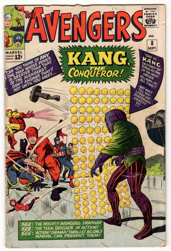 Avengers #8 - 1st App Kang The Conqueror! Lee Kirby Masterpiece!