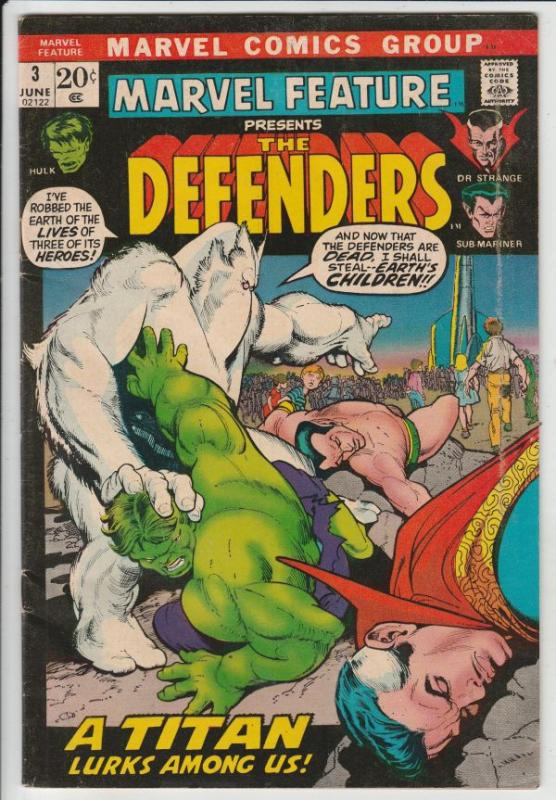 Marvel Feature presents Defenders, The #3 (Jun-72) FN/VF+ Mid-High-Grade Dr.S...