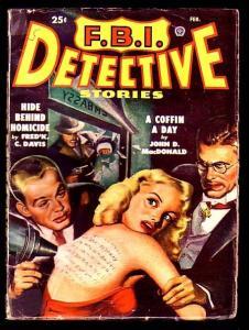 FBI DETECTIVE #1 2/49-john d macdonald-TATTOOED WOMAN cover! VG