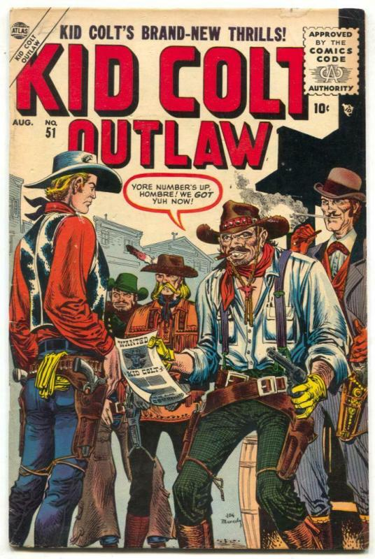 Kid Colt Outlaw #51 1955- Maneely cover- Atlas Western VG/F