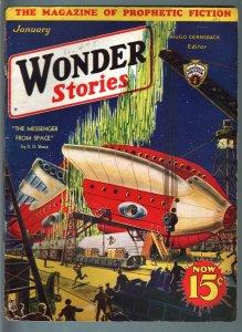 WONDER STORIES 1933 JAN-SCI FI PULP-AMAZING COVER! VG