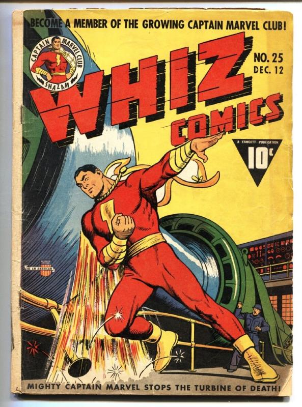 WHIZ #25 1941-FAWCETT-CAPT MARVEL-SHAZAM-DR VOODOO-SPY SMASHER-VG