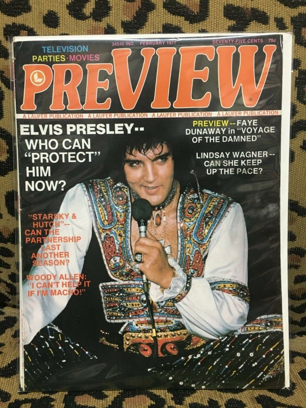 PREVIEW MAGAZINE February 1977 ELVIS FAYE DUNAWAY LINDSAY WAGNER G