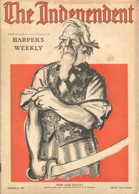 The Independent 3/16/1918-WWI issue 100+ years old-incorporates Harper's Week...