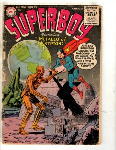 Superboy # 49 GD/VG DC Silver Age Comic Book Metallo Krypton Superman JL10