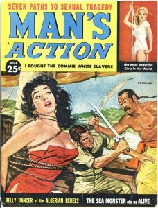 MAN'S ACTION-NOV 1959-BONDAGE-TERROR-CHEESECAKE-BABOONS-PULP THRILLS