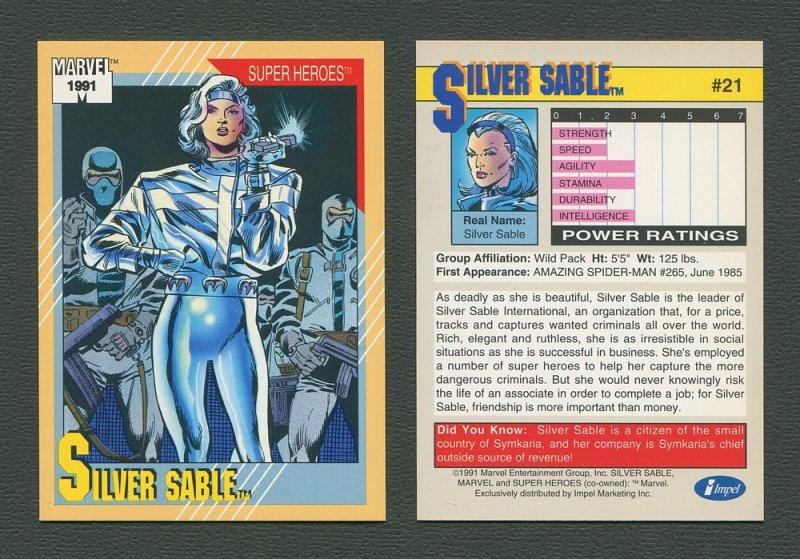1991 Marvel Comics II  Card  #21 ( Silver Sable )  MINT
