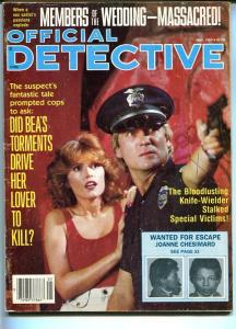 OFFICIAL DETECTIVE-05/1985-MEMBERS OF THE WEDDING MASSACRED!-BLOOD LUSTING  VG