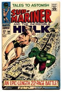 TALES TO ASTONISH #100 comic book-HULK-SUB-MARINER-CLASSIC COVER-MARVEL fn+