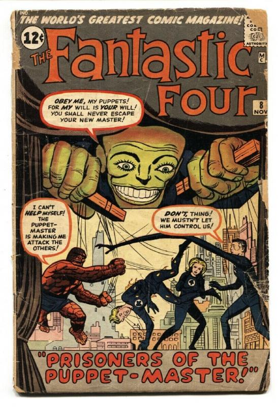 FANTASTIC FOUR #8 1962-PUPPET MASTER-JACK KIRBY-MARVEL SILVER-AGE G