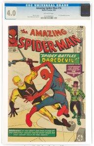 The Amazing Spider-Man #16 (1964) CGC Graded 4.0 Spidey Battles Daredevil