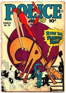 POLICE COMICS #28 (Mar1944) 4.0 VG   Cole's PLASTIC MAN! Eisner's SPIRIT! 60pgs!