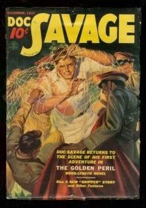 DOC SAVAGE DEC 1937-GOLDEN PERIL-WILD RESTRAINT COVER VG/FN