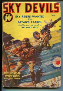 SKY DEVILS 06/1939-RED CIRCLE-TIMELY-PULP-SCOTT-SCHOMBURG-WWI-AIR WAR-vg+