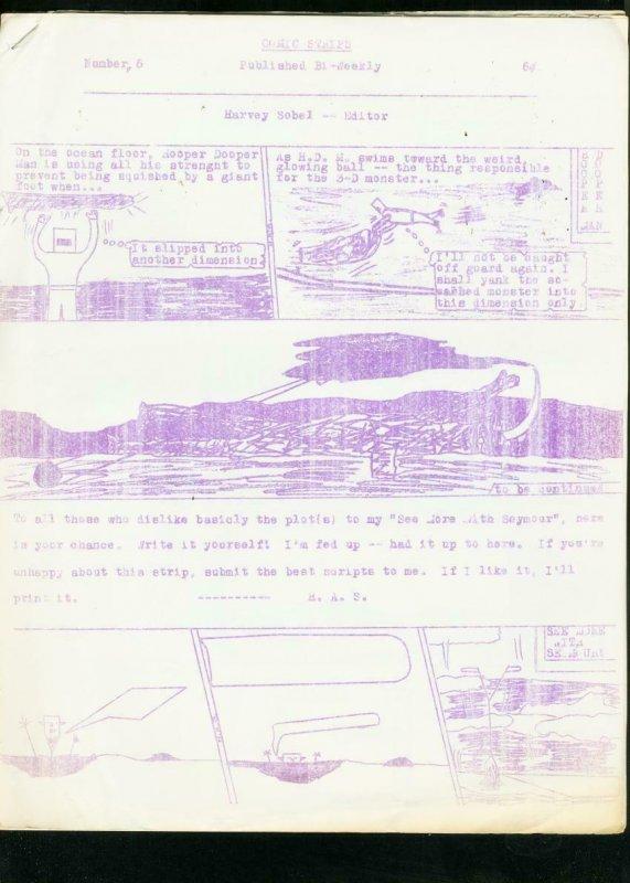 COMIC STRIPS #6 1967-HARVEY SOBEL-RARE OBSCURE FANZINE VG