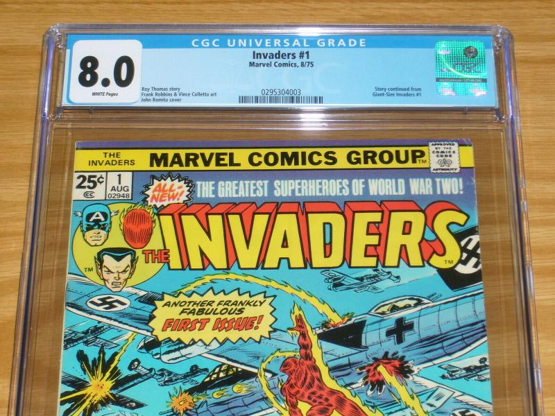 the Invaders #1 CGC 8.0 bronze age marvel comics - captain america - namor 1975