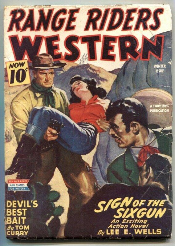 Range Riders Western Pulp Winter 1944- Sign of the Six-gun VG-