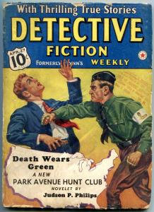 Detective Fiction Weekly Pulp 4-27-1940- Park Ave Hunt Club-Brass knuckles cover