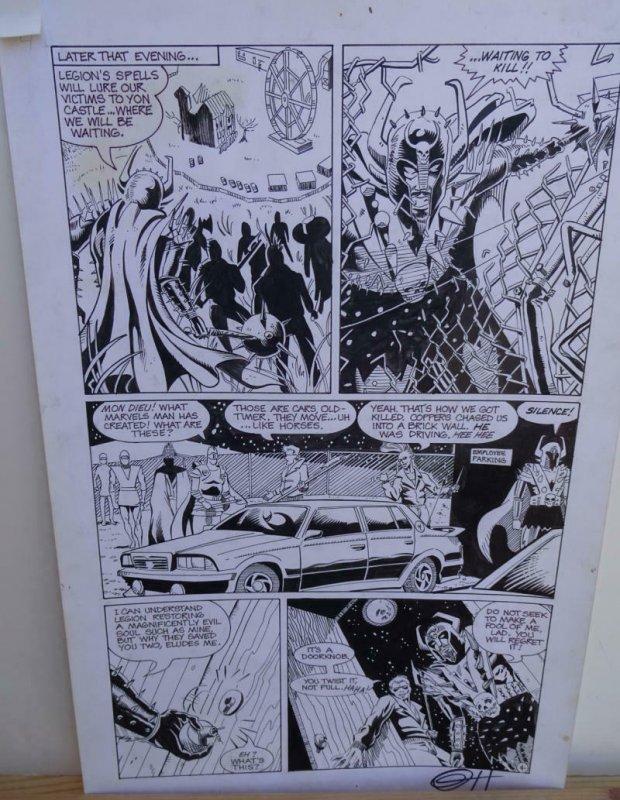 GREG HORN original art, FEMFORCE HOUSE OF HORROR #1 pg 4, Signed, Bad guys, 1989