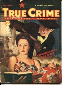 TRUE CRIME-DEC 1945-SILK STOCKING STRANGULATION-JESSE JAMES GANG-PULP VIOLENCE