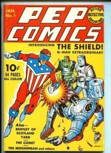 PEP COMICS #1 REPRINT #1970'S-DYNA PUBS-JACK COLE-THE SHIELD-SCOTLAND YARD-vf