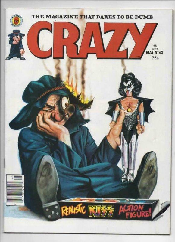 CRAZY #62 Magazine, VF-, KISS Gene Simmons, Teen Hulk, 1973 1980, more in store