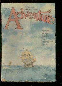 ADVENTURE PULP-FEB 28 1922-NAUTICAL COVER-J ALLAN DUNN- FR/G