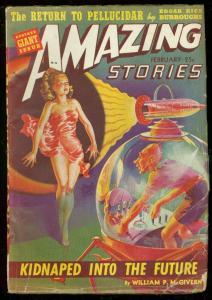 AMAZING STORIES FEB 1942-SPICY CVR-EDGAR RICE BURROUGHS G-