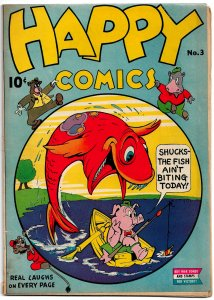 HAPPY COMICS #3 (Dec 1943) 4.0VG  Weird East Coast Funny Animals! Jim Tyer cover