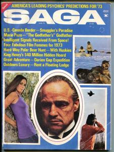 Saga 1/1973-The Godfather-Mario Puzo-Marlon Brando-smugglers-cheesecake pix-GOOD