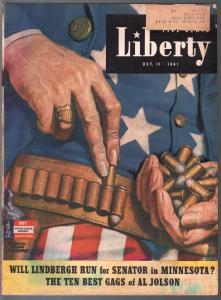 Liberty 10/11/1941-W.B. Humphrey Uncle Sam cover-Faith Baldwin pulp fiction-G/VG