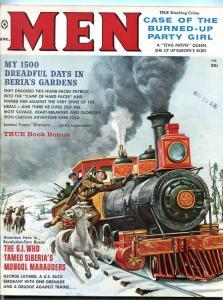 Men Magazine April 1960-TRAIN COVER-SIBERIA-CHEESECAKE-KING KONG FN