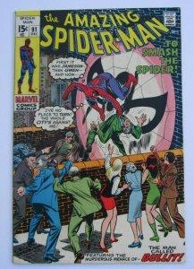 Amazing Spider-Man #91 VF- Bullit Appearance Marvel Bronze Age Comic 1970