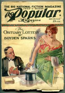 Popular Pulp Magazine December 20 1926-Modest Stein- Obituary Lottery