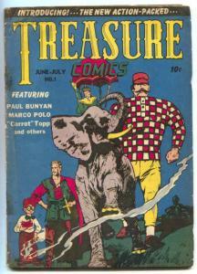 Treasure Comics #1 1945- Marco Polo- Paul Bunyan- Golden Age G