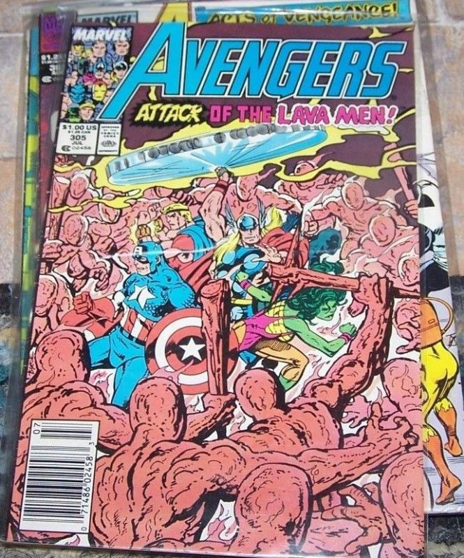 Avengers # 305 (Jul 1989, Marvel) lava men thor she hulk captain america byrne