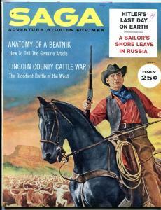 Saga Magazine August 1960-BEATNIKS-HITLER'S DEATH-HORATIO ALGER FN
