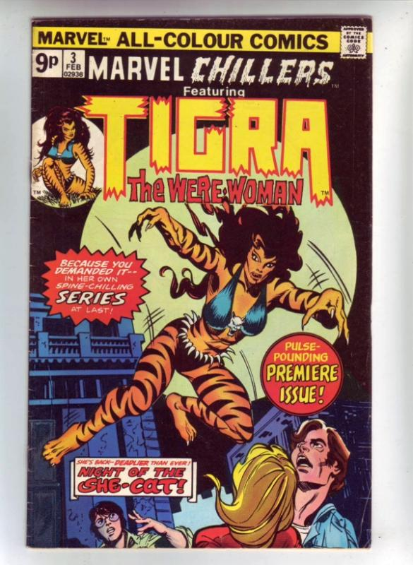 Marvel Chillers Pence Version #3 (Apr-76) VF- High-Grade Tigra