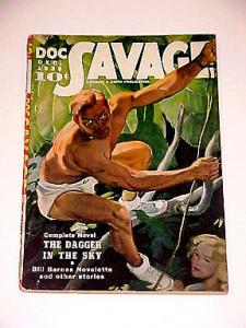 DOC SAVAGE PULP-DECEMBER 1939-WILD COVER --BILL BARNES FN