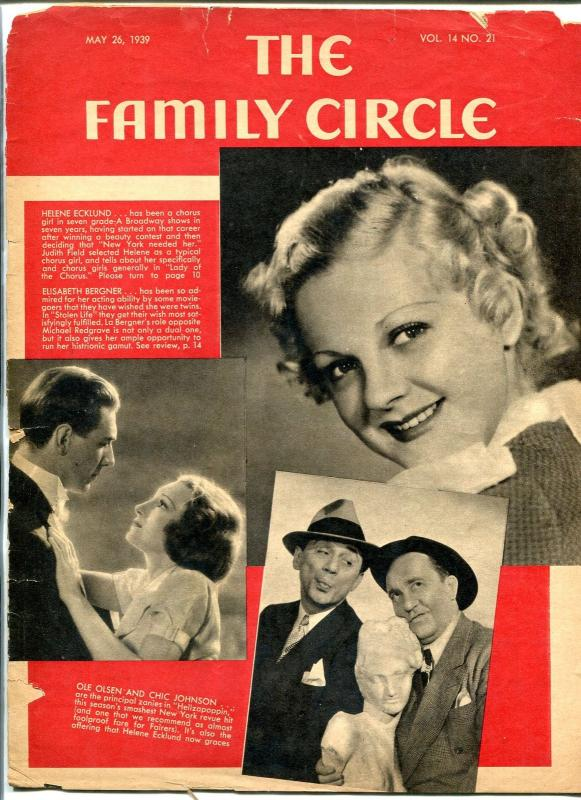 Family Circle Magazine May 26 1939- Ole Olsen- Helene Ecklund- Chorus Girls