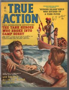 True Action 12/1959-Headhunters-skulls-shipwrecked sailors-cheesecake-G/VG