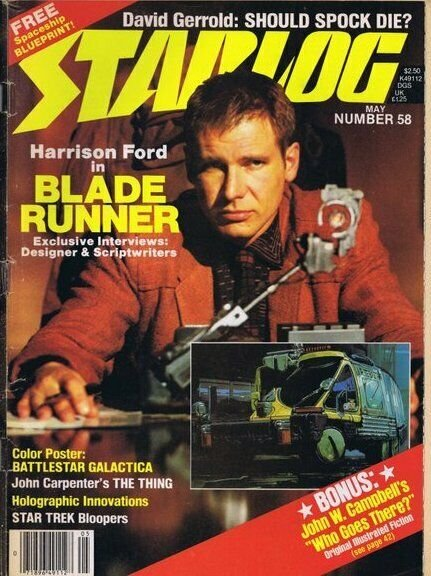 ORIGINAL Vintage May 1982 Starlog Magazine #58 Blade Runner (cover detached)