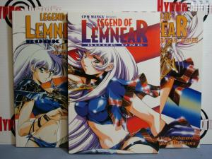 CPM Manga LEGEND OF LEMNEAR BOOKS 1-3 ENGLISH TEXT 1999 Cool Japanese Comic!!!